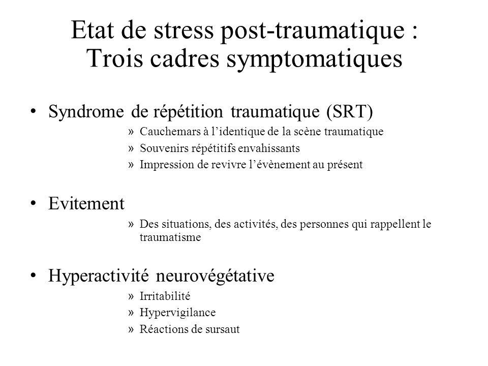 Etat de stress post-traumatique : Trois cadres symptomatiques