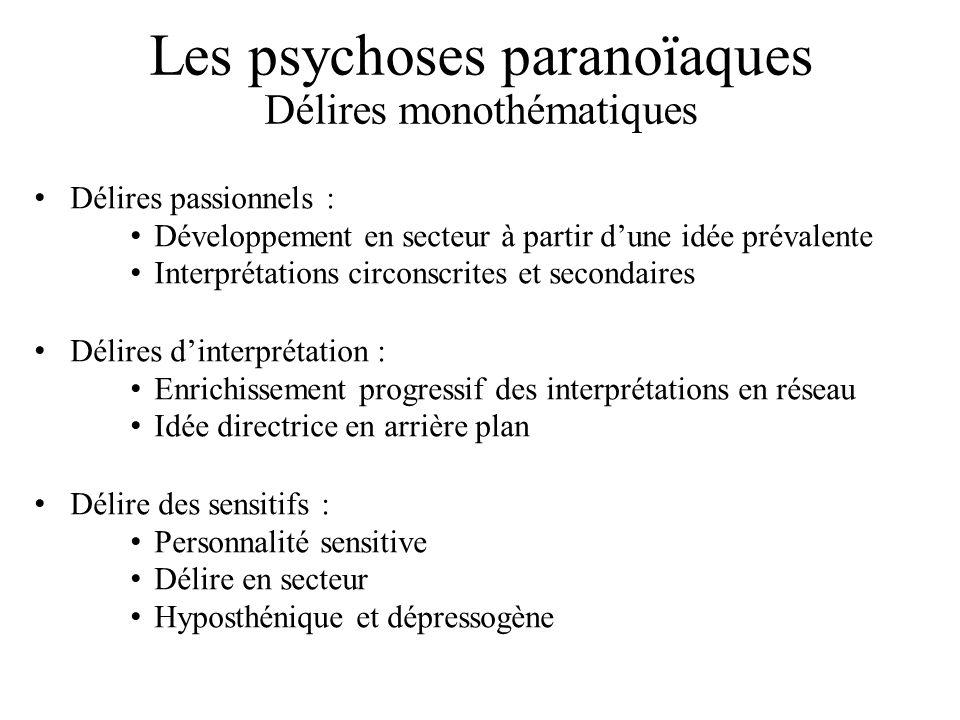 Les psychoses paranoïaques Délires monothématiques