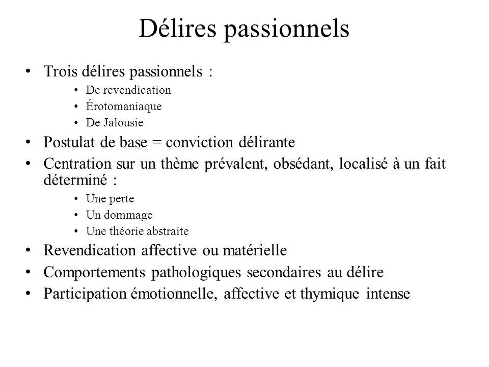 Délires passionnels Trois délires passionnels :