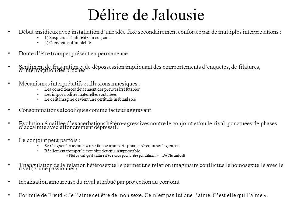 Délire de Jalousie Début insidieux avec installation d'une idée fixe secondairement confortée par de multiples interprétations :