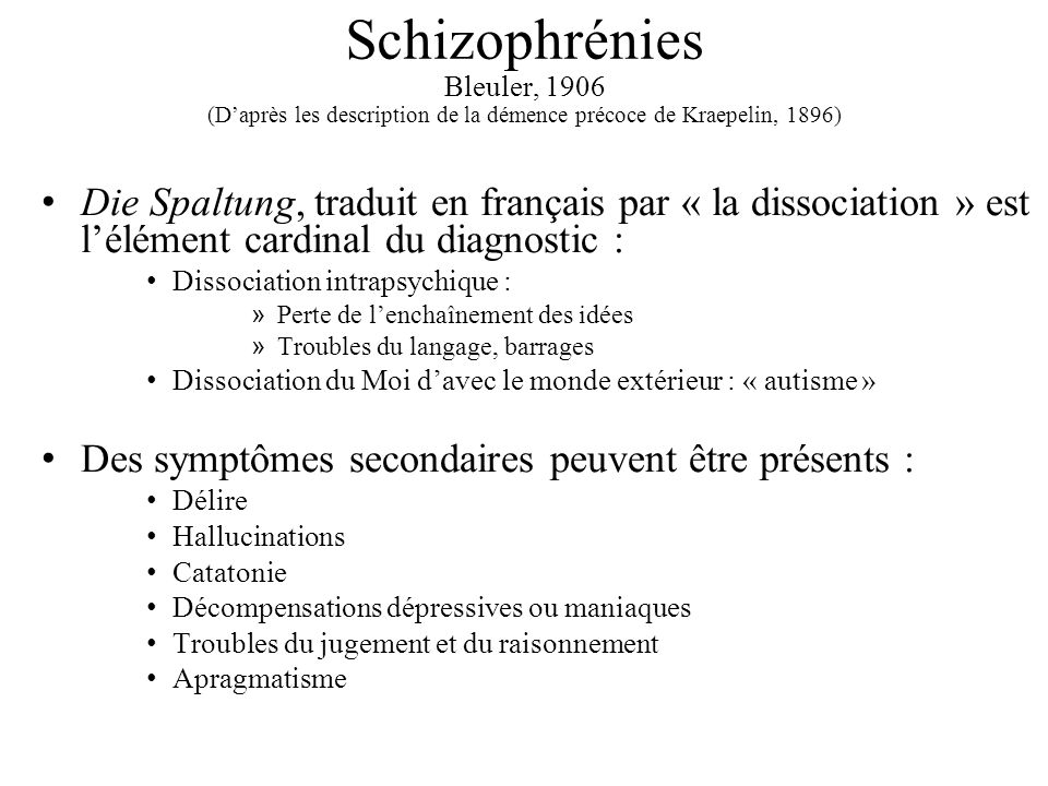 Schizophrénies Bleuler, 1906 (D'après les description de la démence précoce de Kraepelin, 1896)