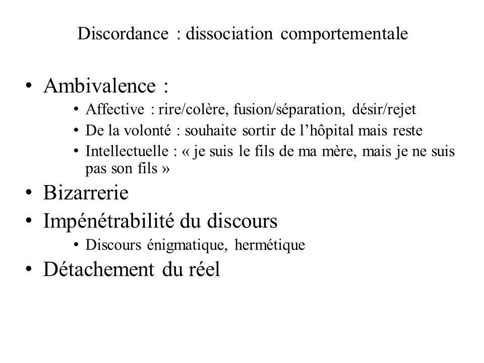 Discordance : dissociation comportementale