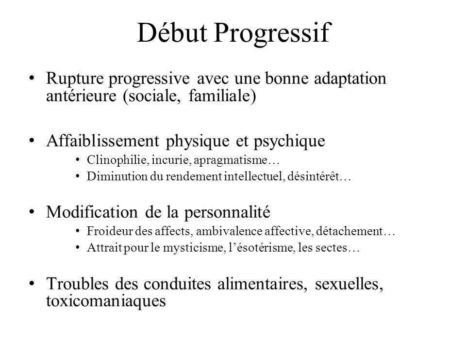 Début Progressif Rupture progressive avec une bonne adaptation antérieure (sociale, familiale) Affaiblissement physique et psychique.