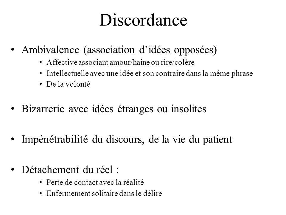 Discordance Ambivalence (association d'idées opposées)