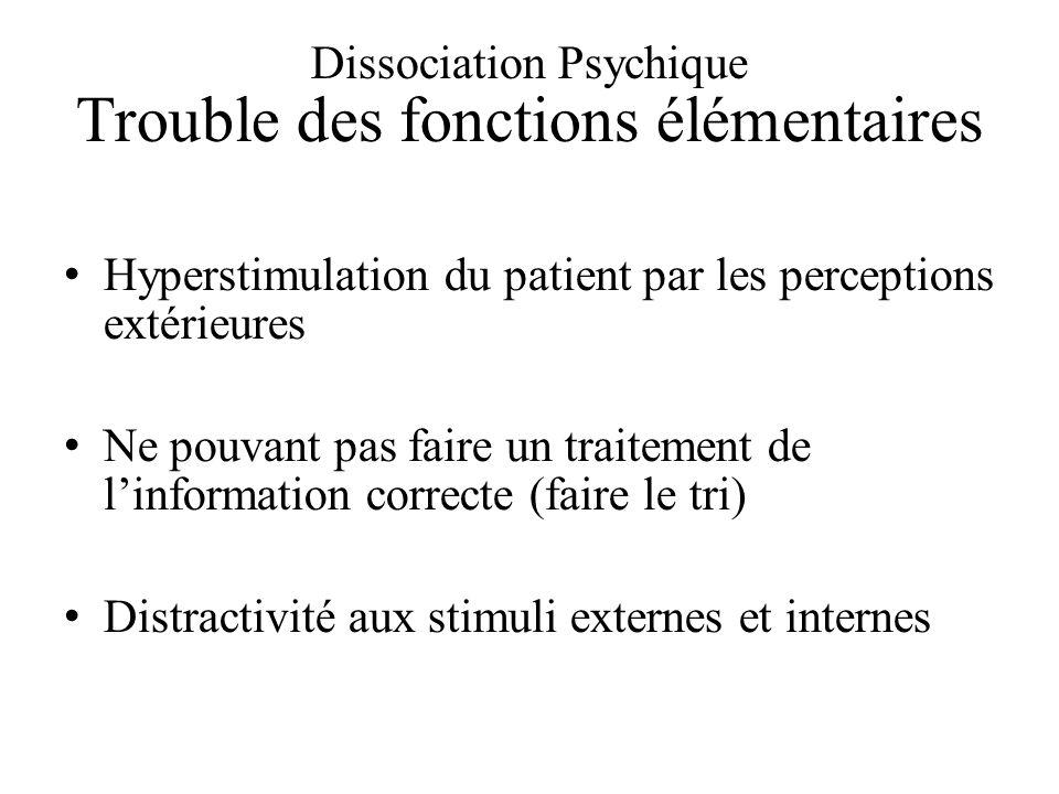 Dissociation Psychique Trouble des fonctions élémentaires