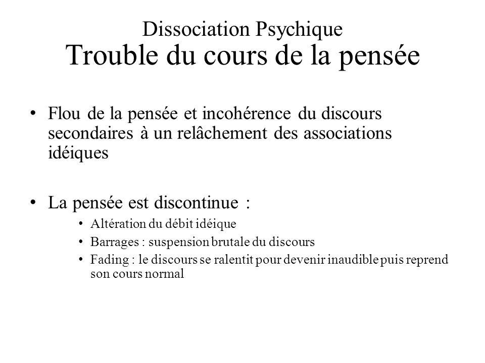 Dissociation Psychique Trouble du cours de la pensée