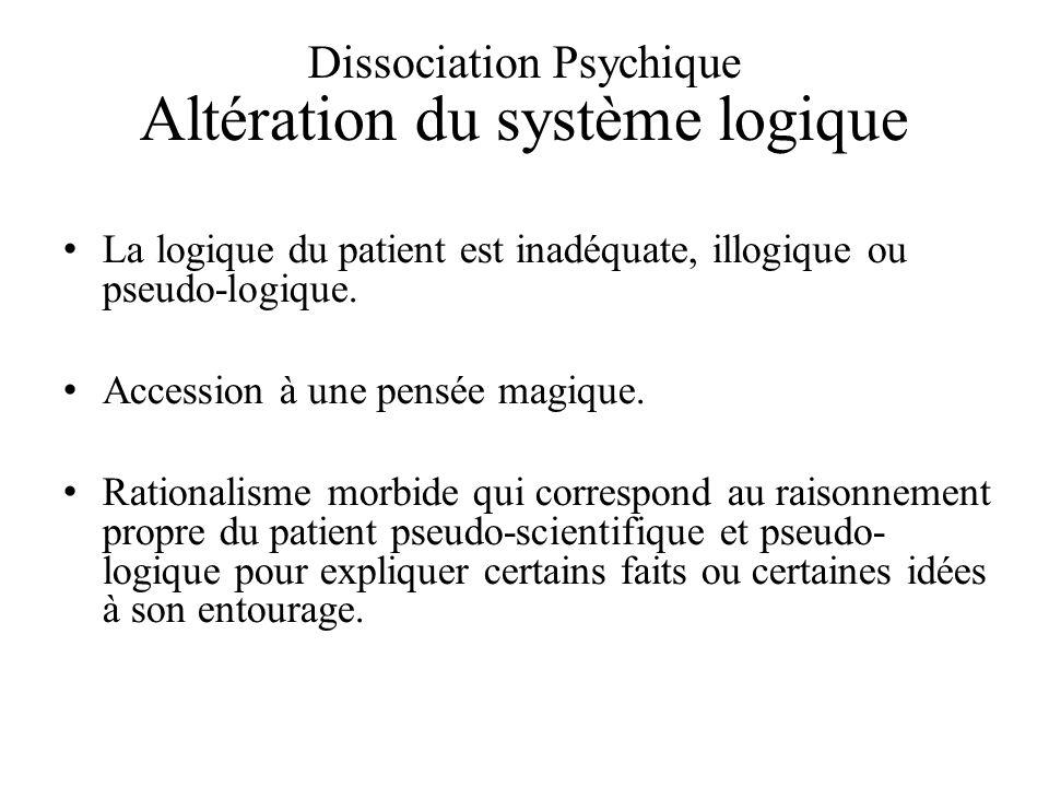Dissociation Psychique Altération du système logique
