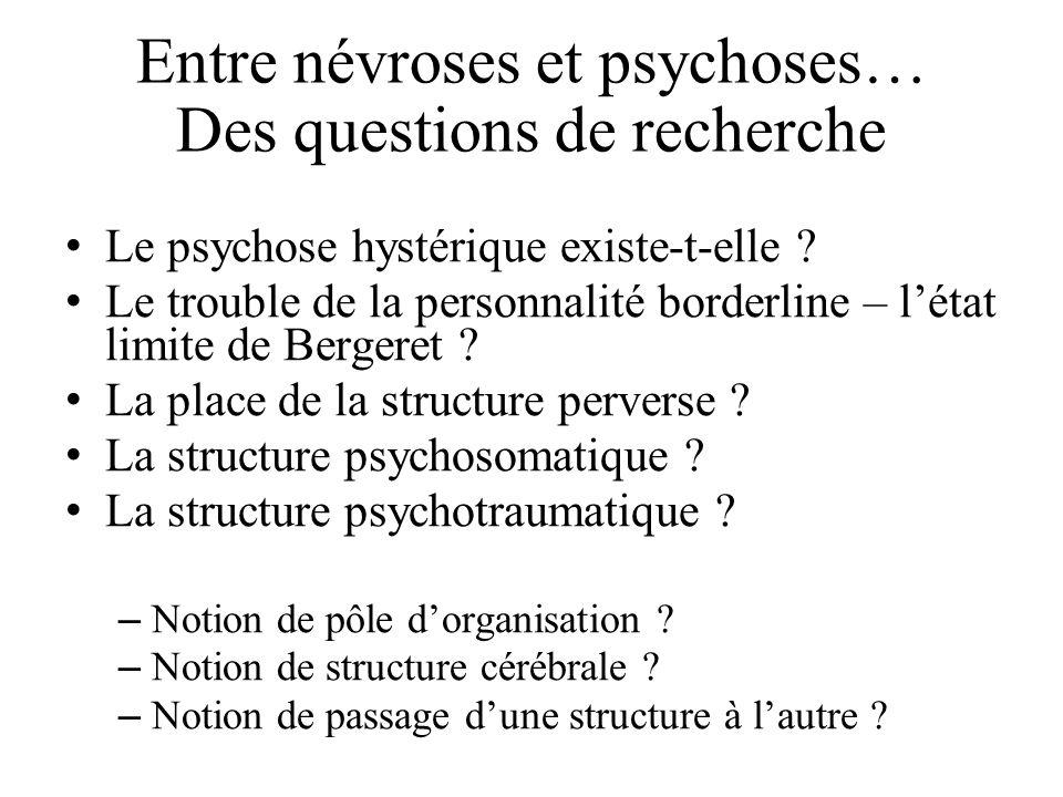 Entre névroses et psychoses… Des questions de recherche