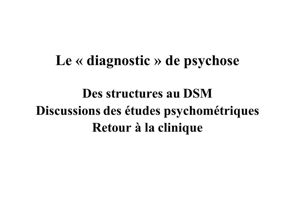 Le « diagnostic » de psychose Discussions des études psychométriques