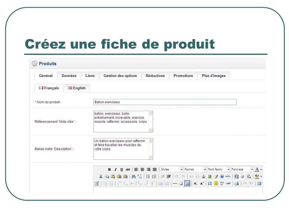Créez une fiche de produit