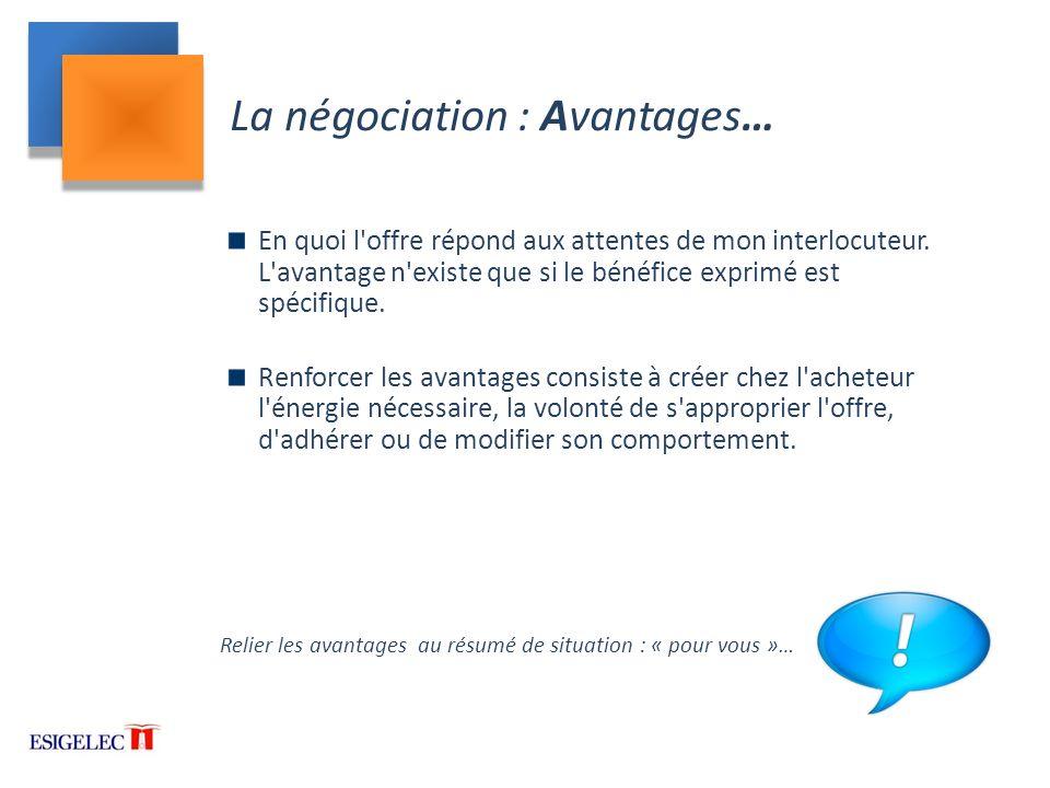 La négociation : Avantages…