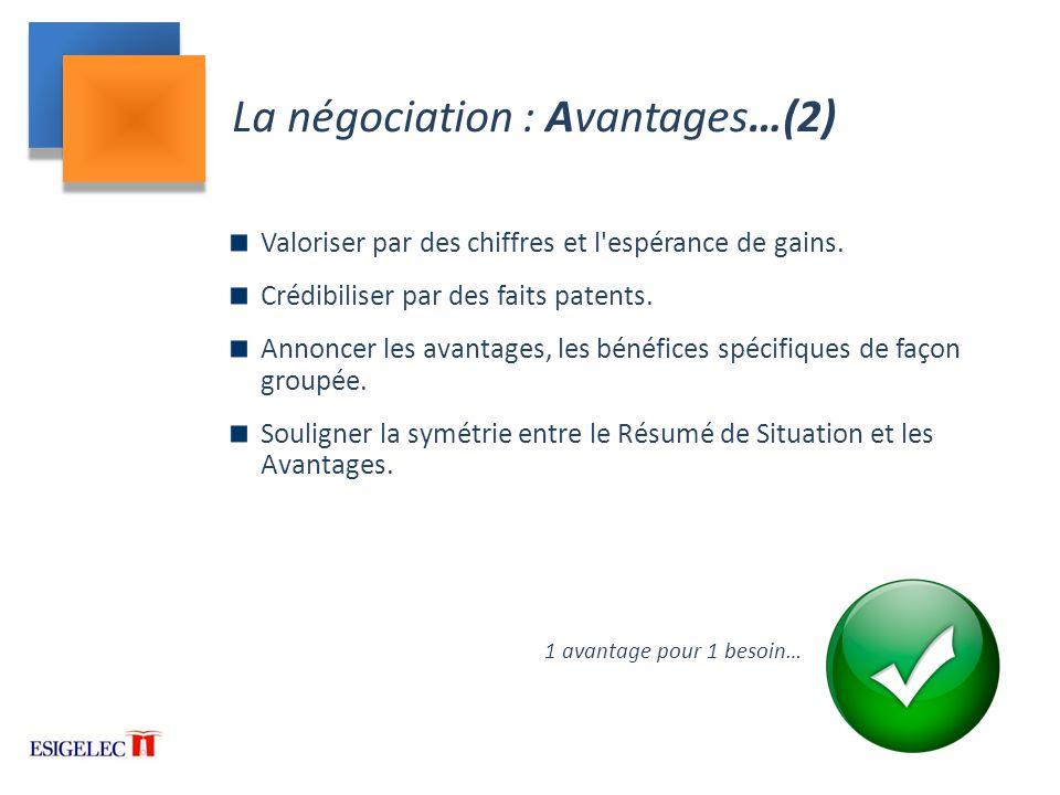 La négociation : Avantages…(2)