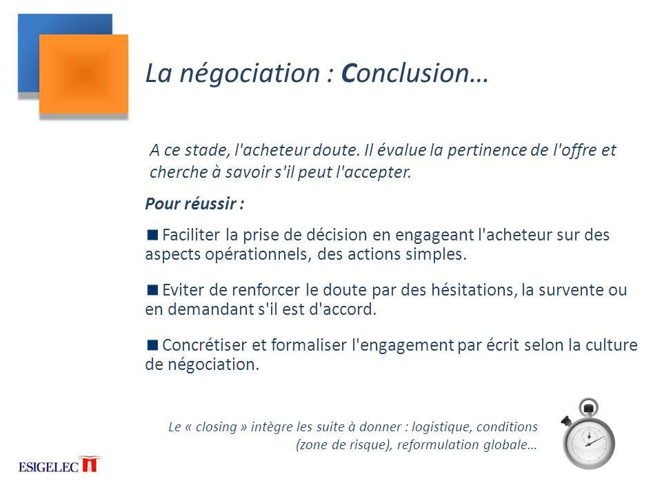 La négociation : Conclusion…