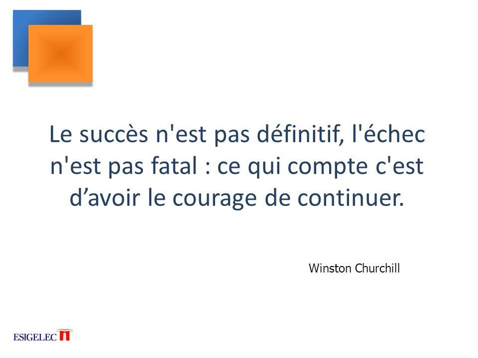 Le succès n est pas définitif, l échec n est pas fatal : ce qui compte c est d'avoir le courage de continuer.