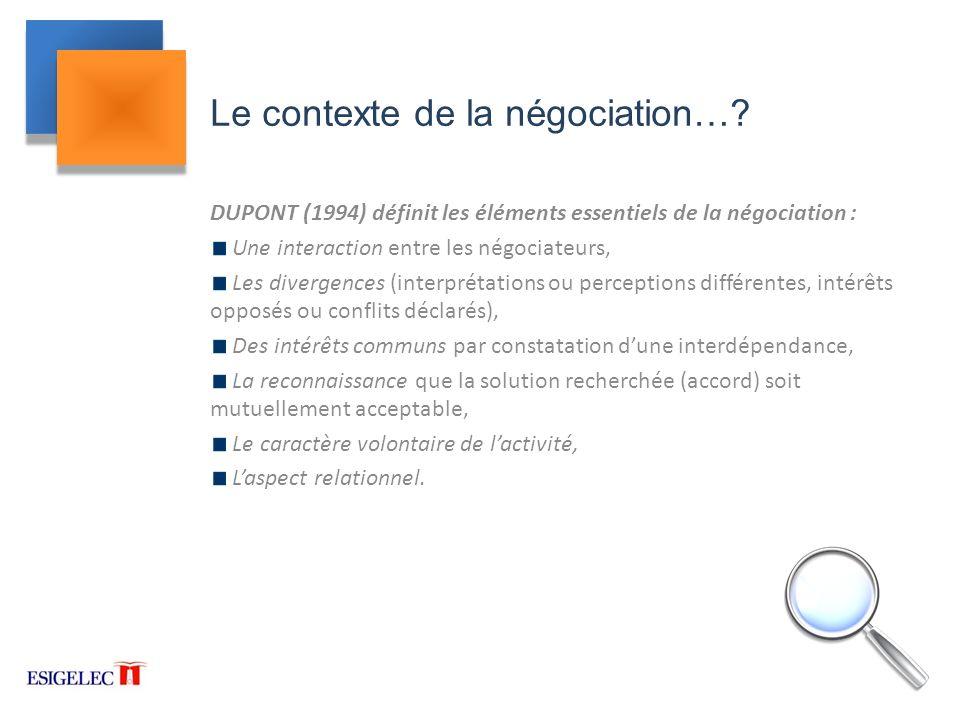 Le contexte de la négociation…