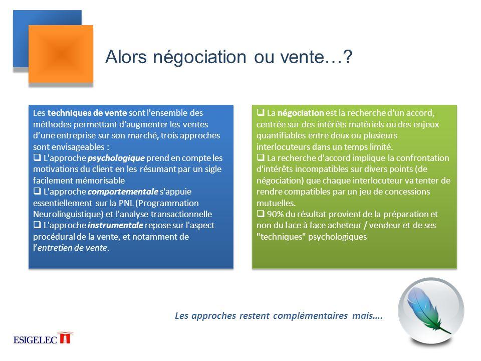 Alors négociation ou vente…