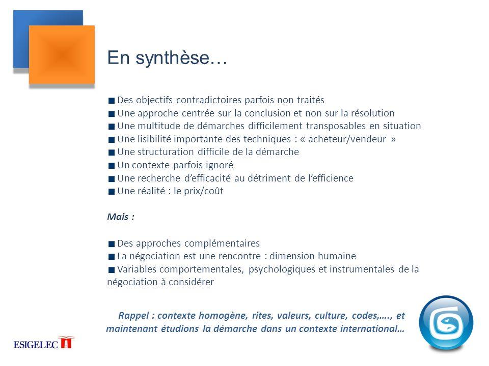 En synthèse… Des objectifs contradictoires parfois non traités