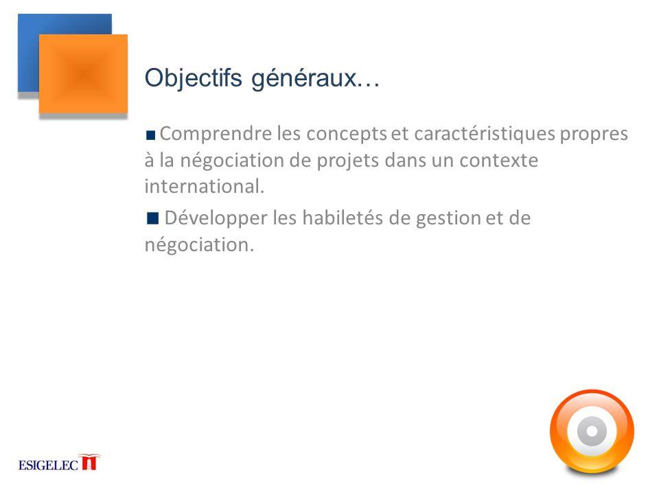 Objectifs généraux… Comprendre les concepts et caractéristiques propres à la négociation de projets dans un contexte international.