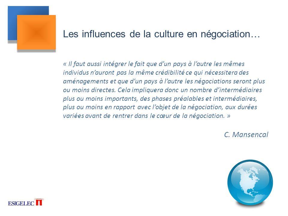 Les influences de la culture en négociation…