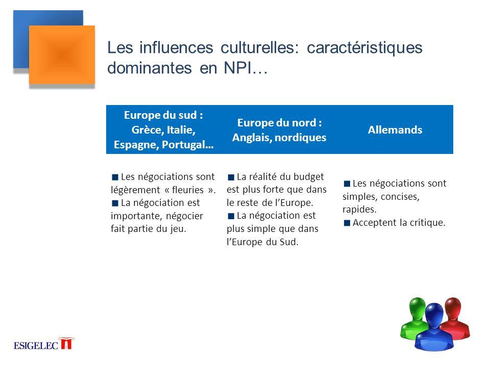 Les influences culturelles: caractéristiques dominantes en NPI…