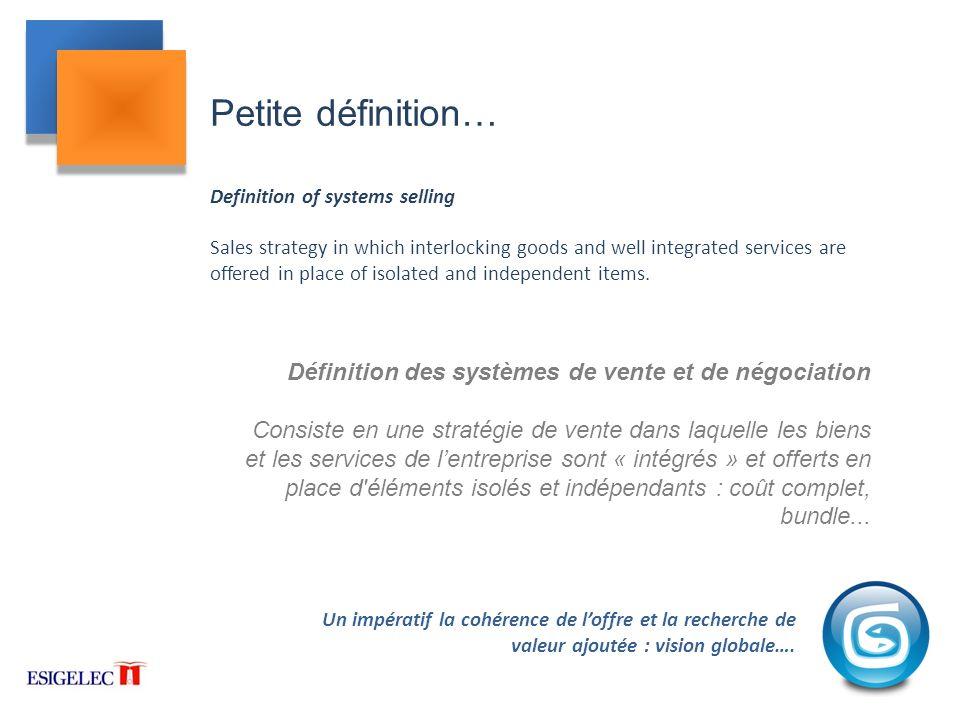 Petite définition… Définition des systèmes de vente et de négociation