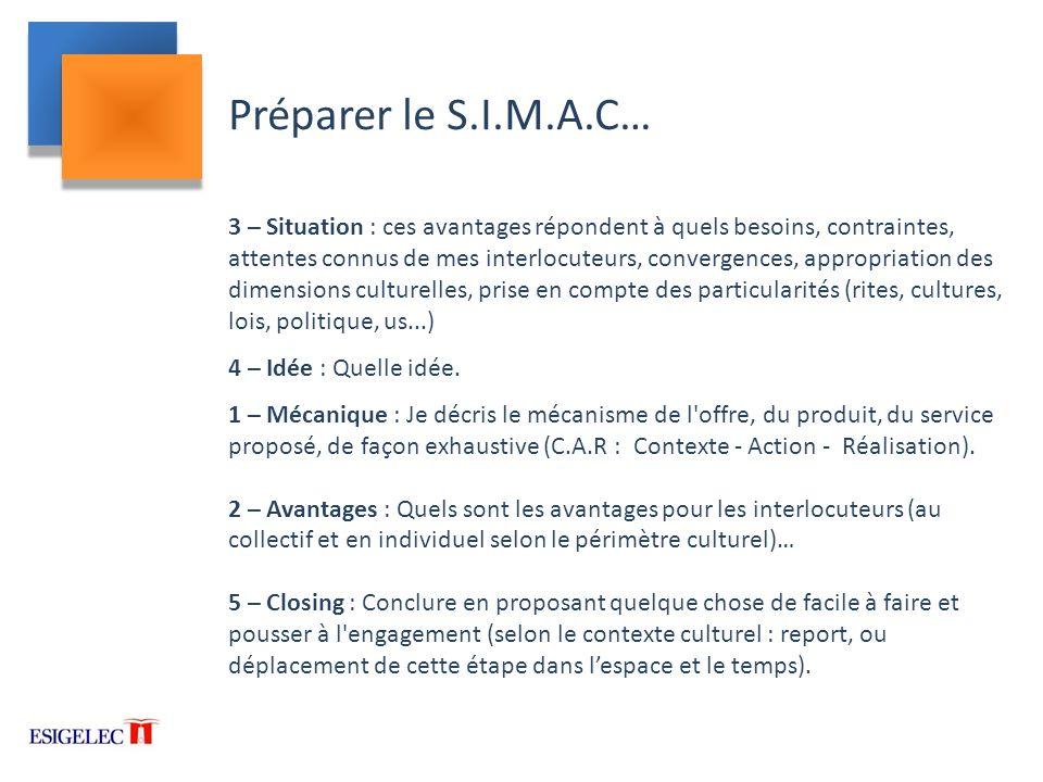 Préparer le S.I.M.A.C…
