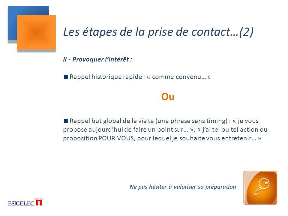 Les étapes de la prise de contact…(2)