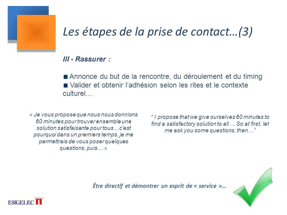 Les étapes de la prise de contact…(3)