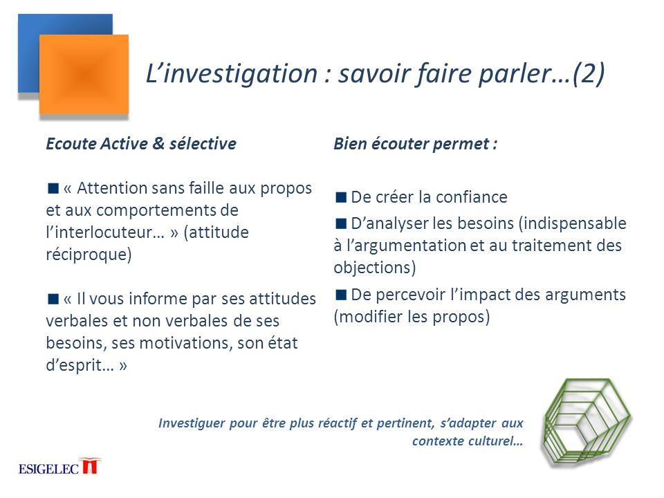 L'investigation : savoir faire parler…(2)