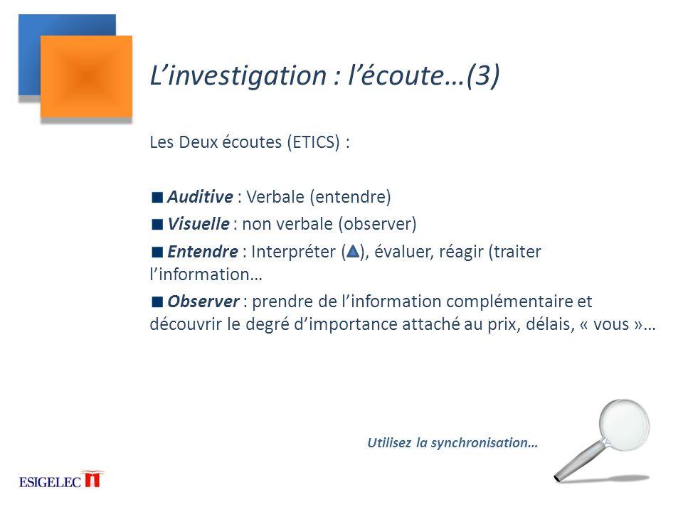 L'investigation : l'écoute…(3)