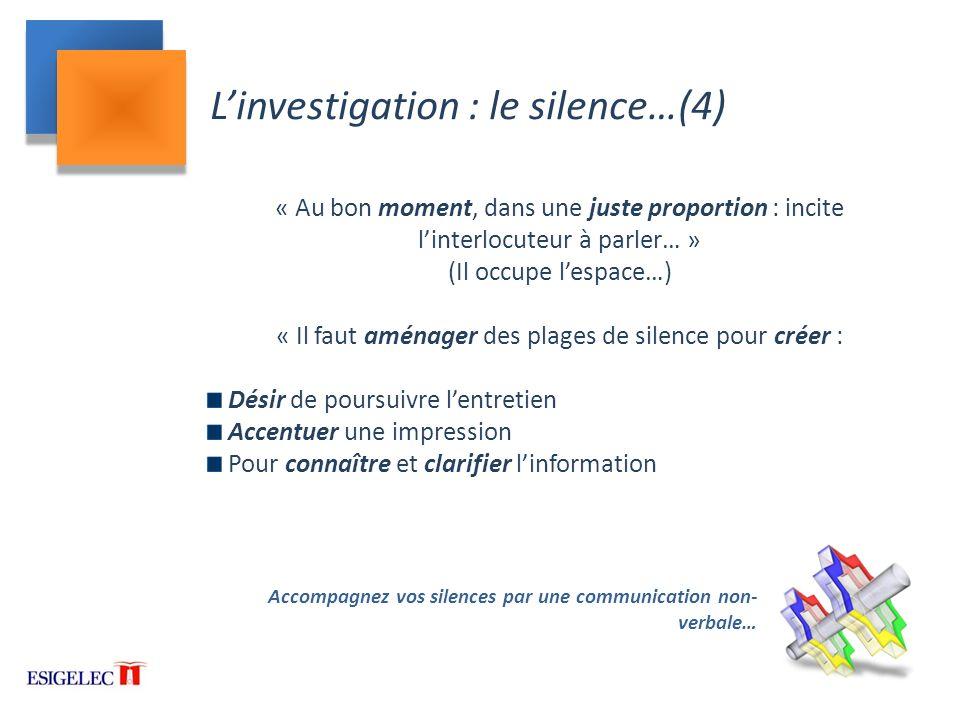 L'investigation : le silence…(4)