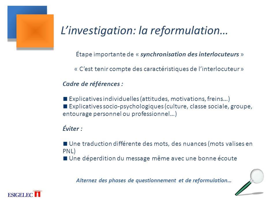 L'investigation: la reformulation…