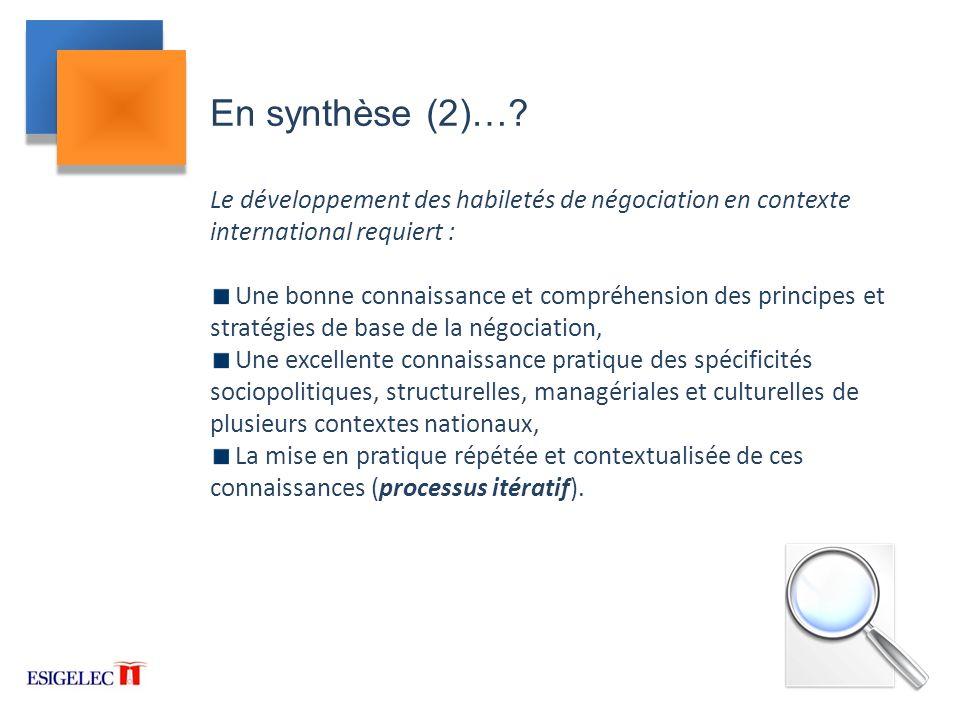 En synthèse (2)… Le développement des habiletés de négociation en contexte international requiert :
