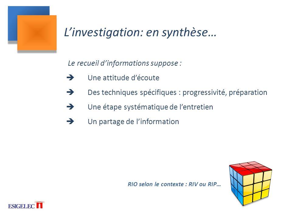 L'investigation: en synthèse…