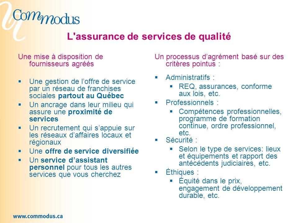 L assurance de services de qualité