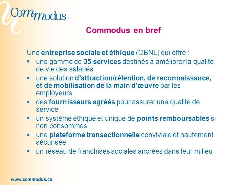 Commodus en bref Une entreprise sociale et éthique (OBNL) qui offre :