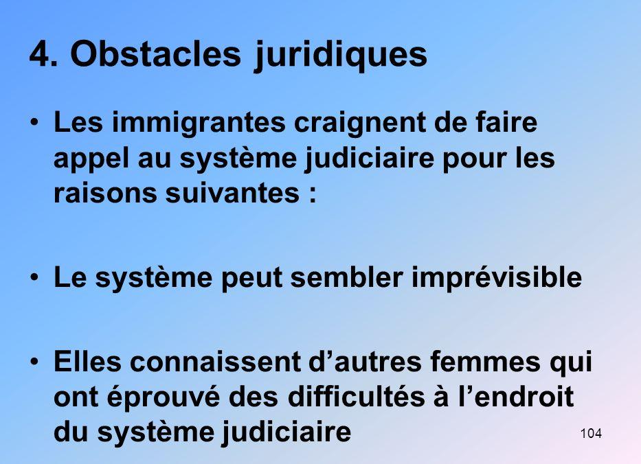 4. Obstacles juridiques Les immigrantes craignent de faire appel au système judiciaire pour les raisons suivantes :