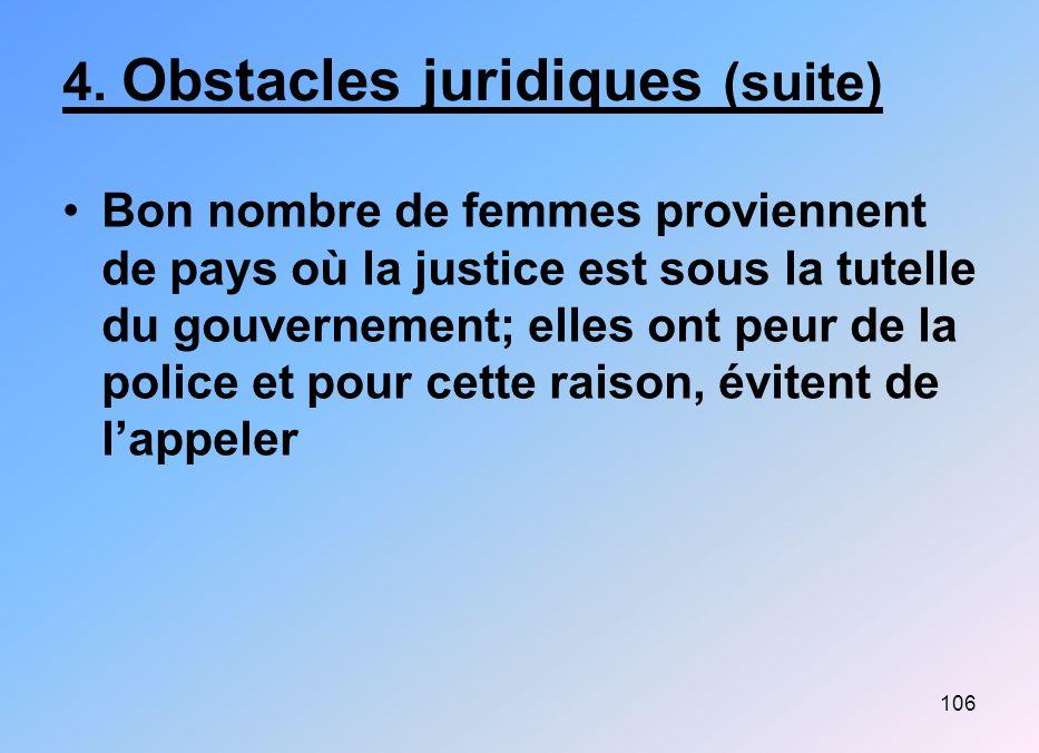 4. Obstacles juridiques (suite)