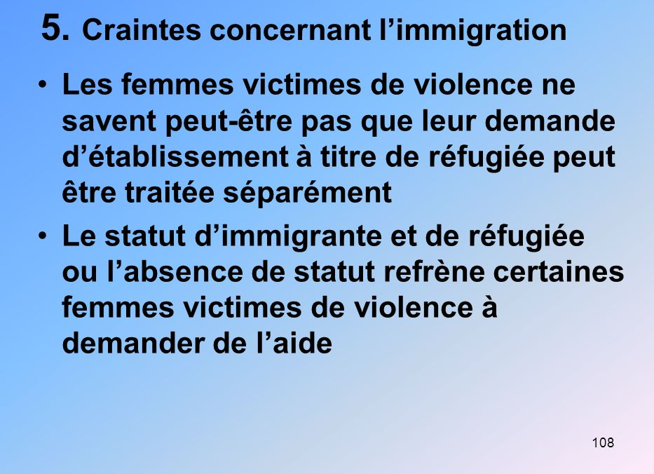 5. Craintes concernant l'immigration