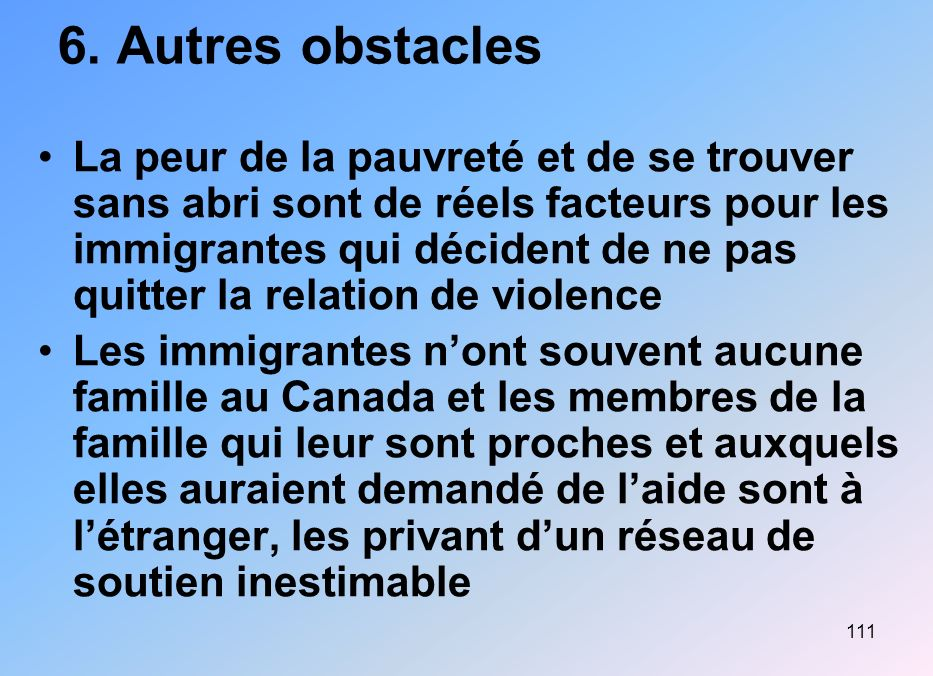 6. Autres obstacles