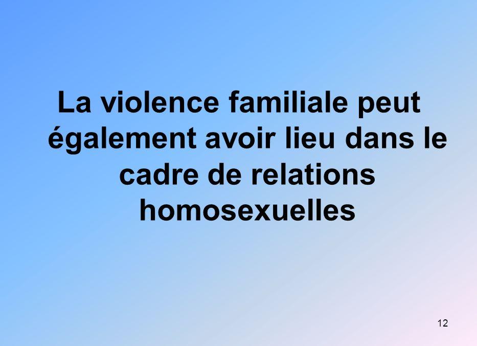 La violence familiale peut également avoir lieu dans le cadre de relations homosexuelles
