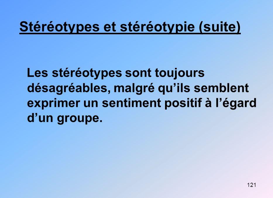 Stéréotypes et stéréotypie (suite)