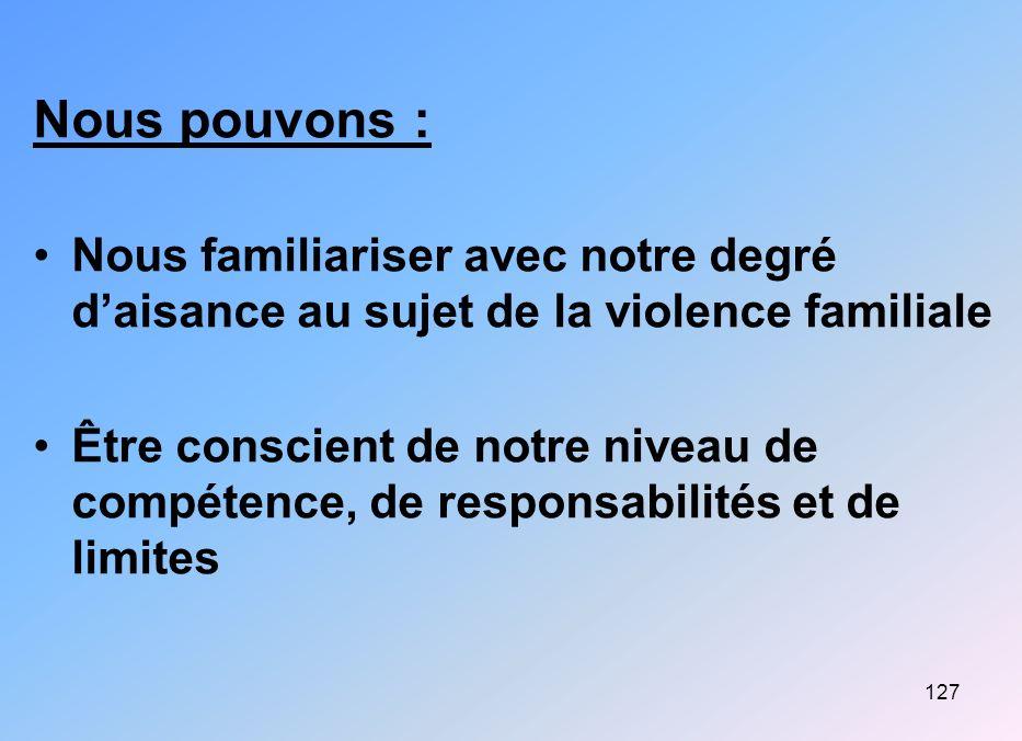 Nous pouvons : Nous familiariser avec notre degré d'aisance au sujet de la violence familiale.