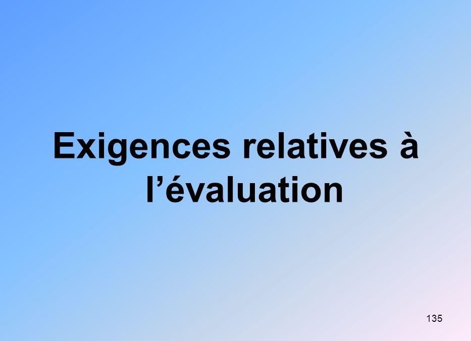 Exigences relatives à l'évaluation
