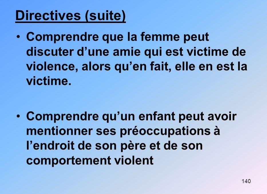 Directives (suite) Comprendre que la femme peut discuter d'une amie qui est victime de violence, alors qu'en fait, elle en est la victime.