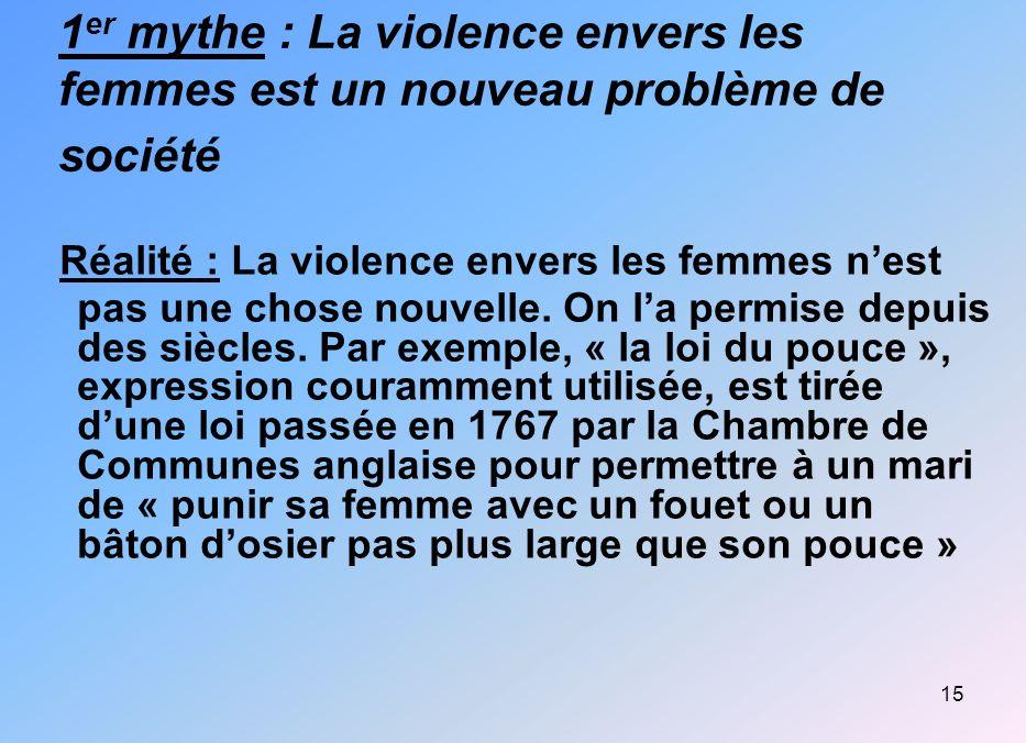 1er mythe : La violence envers les femmes est un nouveau problème de société