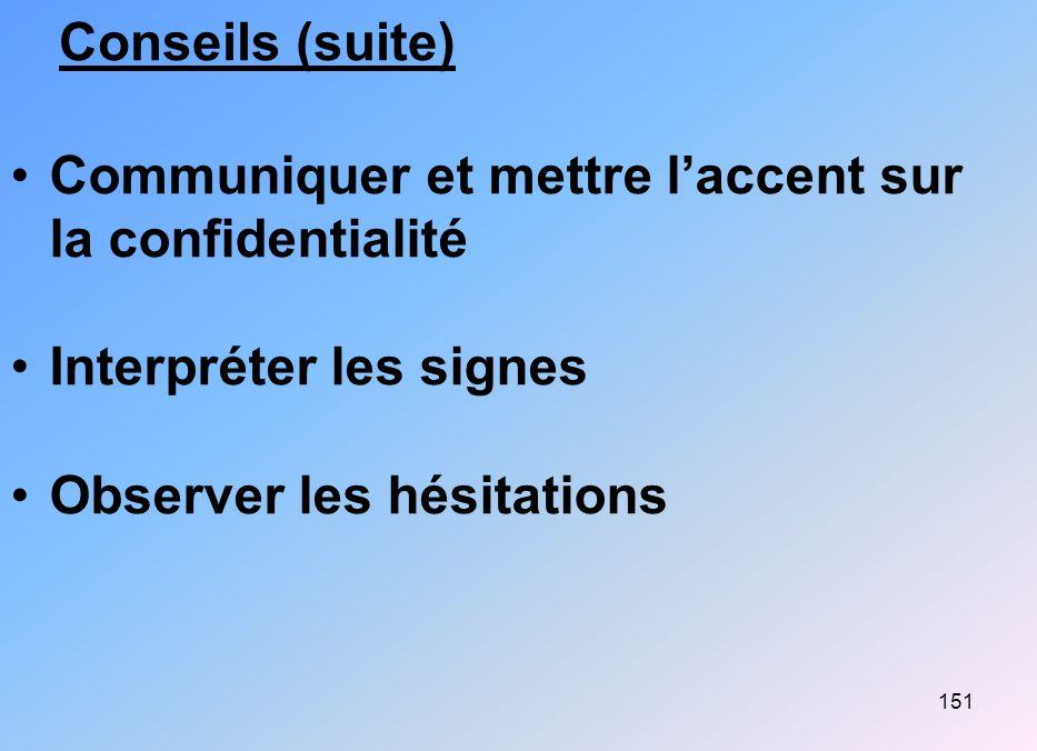 Conseils (suite) Communiquer et mettre l'accent sur la confidentialité.