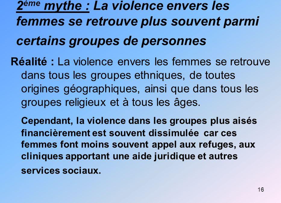 2ème mythe : La violence envers les femmes se retrouve plus souvent parmi certains groupes de personnes
