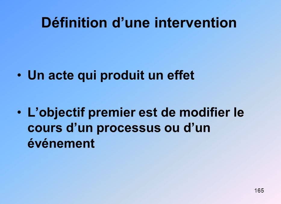 Définition d'une intervention