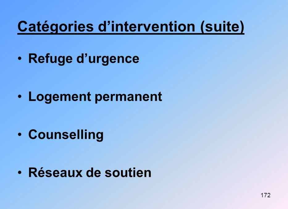 Catégories d'intervention (suite)